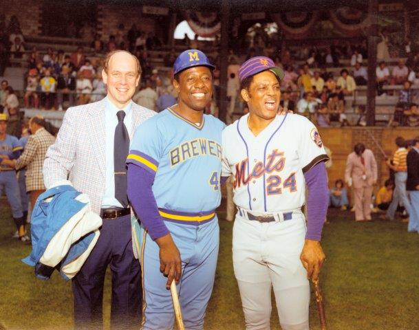 HOF Director Ed Stack with Henry Aaron, Willie Mays 1976