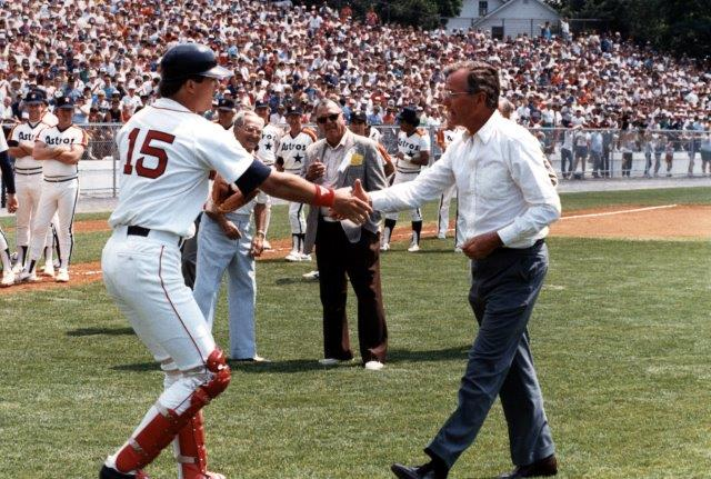 Red Sox cactcher Marc Sullivan with Vice President George Bush